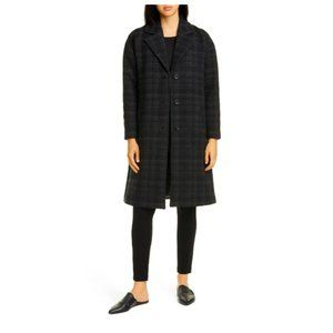Eileen Fisher Notch Collar Plaid Wool Long Coat L